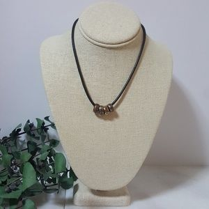 Jewelry - Leather Cord & Metal Rings Surfer Necklace